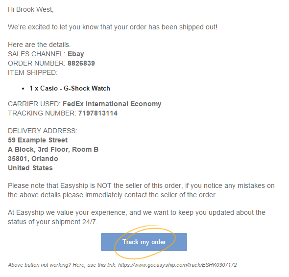 Example email notification from Easyship