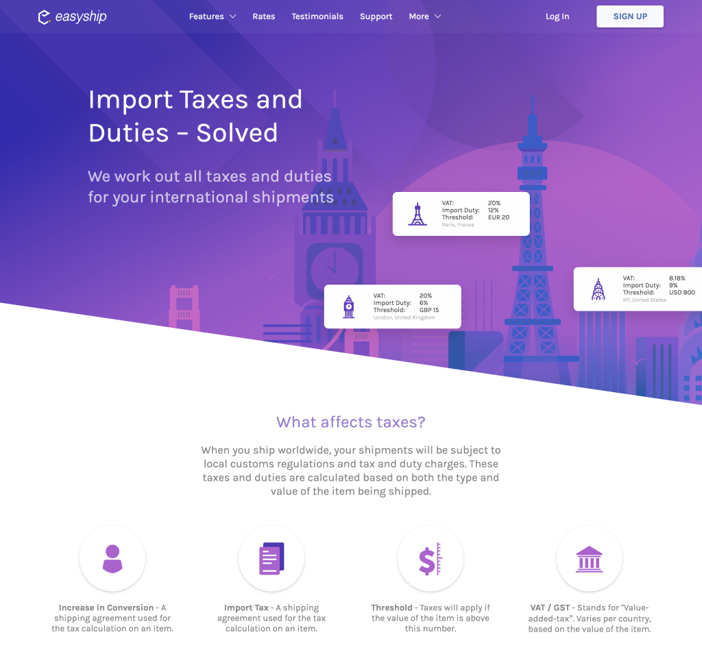 Easyship's taxes and duties page