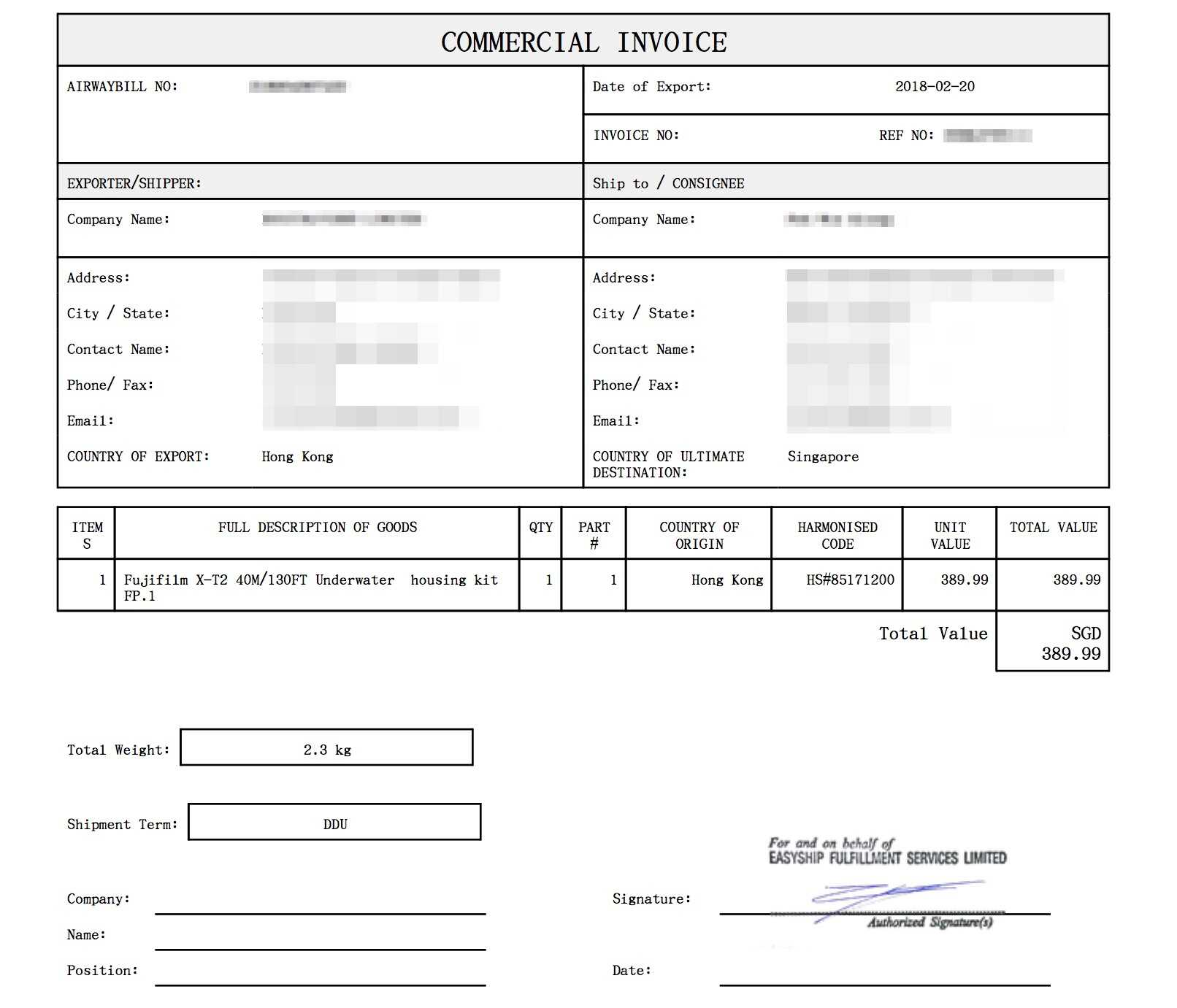Sample Commercial Invoice Easyship