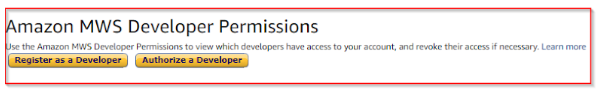 Click on Amazon MWS Register as a developer Button