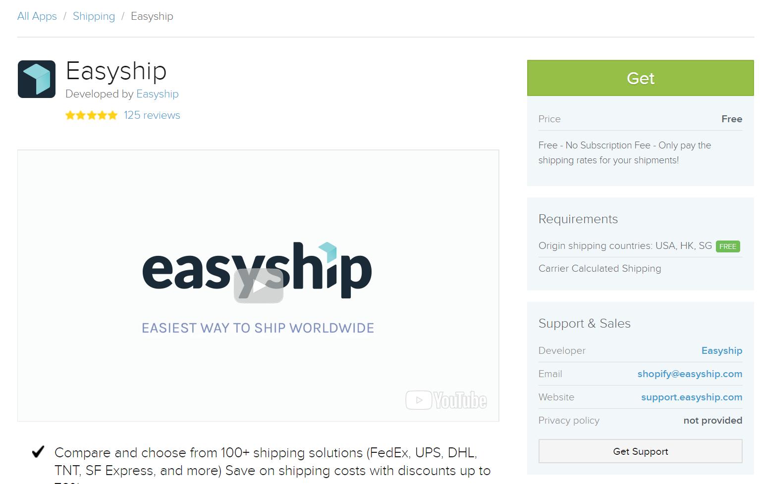 Easyship app in Shopify App Store