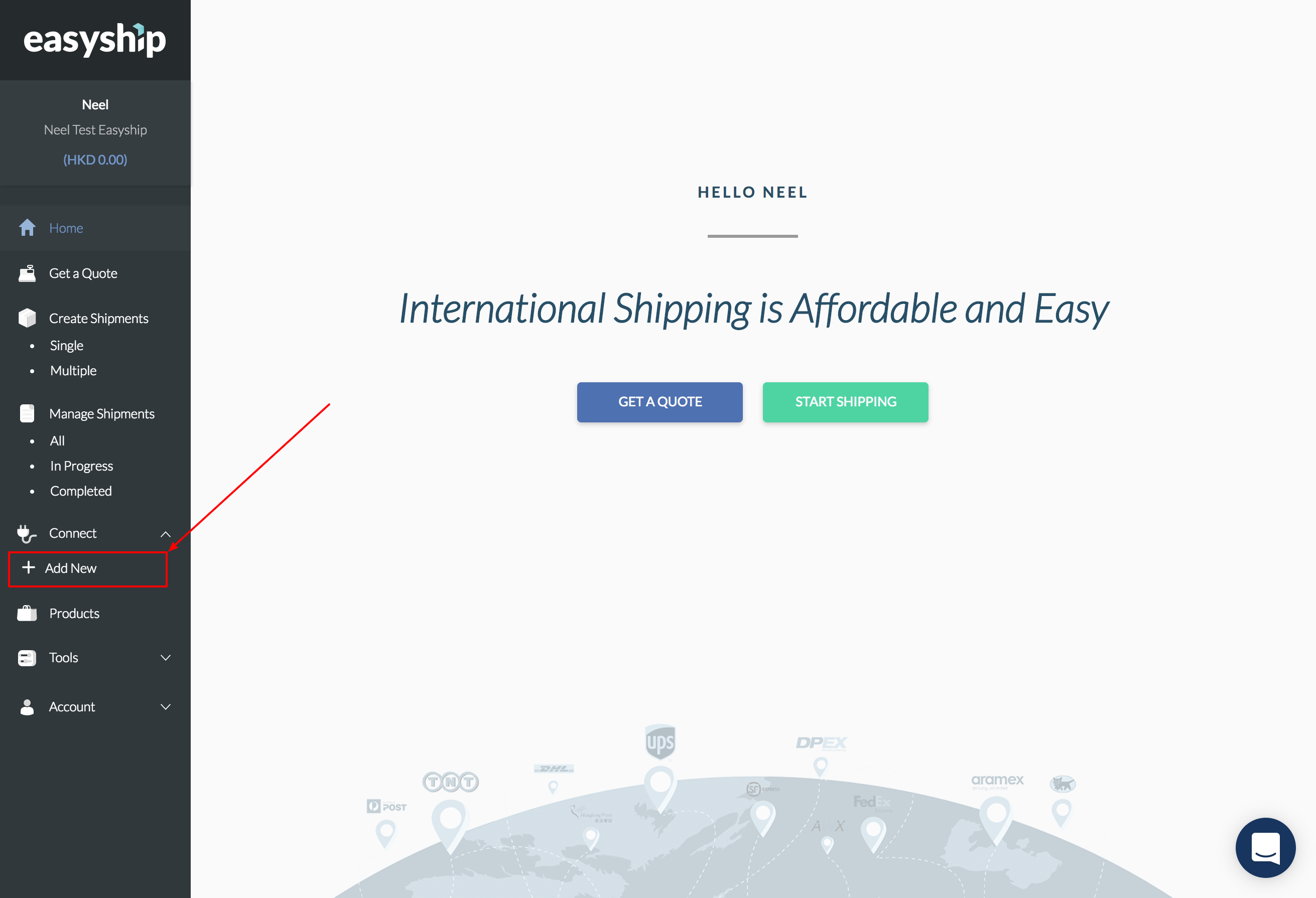 Connect Via API – Easyship