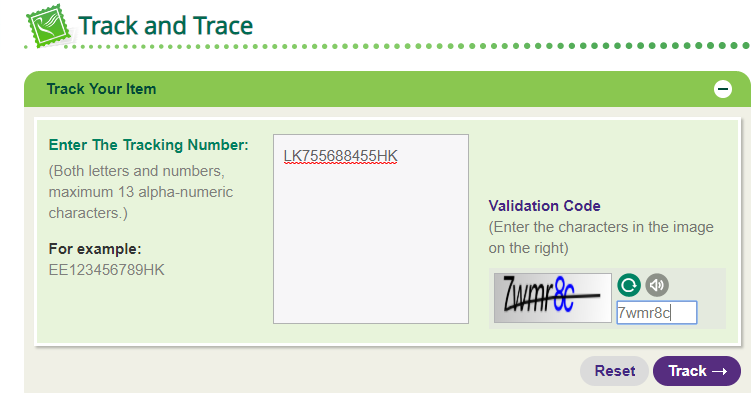 HKP tracking number example
