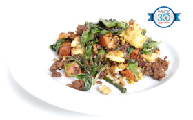 Spinach, Sweet Potato, & Beef Scramble