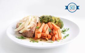 Family Style Meatloaf with Carrot French Fries & Roasted Broccoli