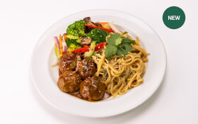 Asian Meatballs with Peanut Sauce & Rice Noodles