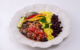Chicken Fajitas with Cilantro Lime Avocado Rice & Black Beans