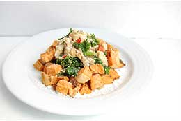 Goat Cheese, Red Pepper and Kale Breakfast Skillet over Sweet Potato Homefries