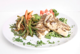 Honey Mustard Poppy Seed Baked Cod with Roasted Fennel & Green Bean Salad