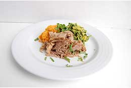 Honey Mustard Pulled Pork with Kale, Carrots, and Peas