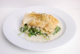 Wild Caught Cod over Creamy Cauliflower Parmesan Risotto