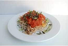 Pulled Pork Bordelaise over Gluten Free Spaghetti with Fresh Herbs