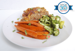 Bacon Cheeseburger Meatloaf with Carrot French Fries & Roasted Broccoli