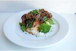 Sesame Ginger Beef with Stir Fried Veggies & Rice