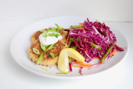Crab Cakes with Red Cabbage Slaw & Romesco Sauce