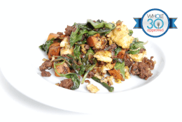 Beef, Sweet Potato & Spinach Scramble