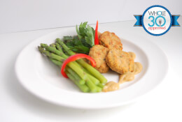 Sweet Potato Chicken Croquettes with Braised Asparagus