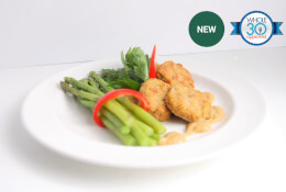 Sweet Potato Chicken Nuggets with Braised Asparagus