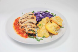 Grilled Chicken Romesco with Parmesan Roasted Cauliflower & Oven Roasted Cabbage
