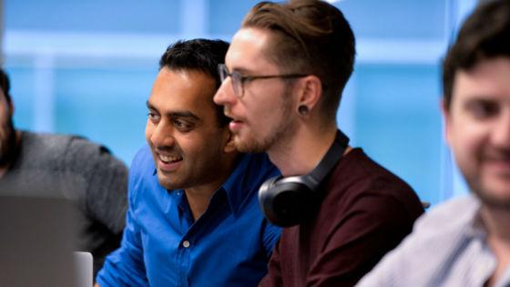 Sai Lakshmi Echo CEO with members of Echo's Tech team | Echo