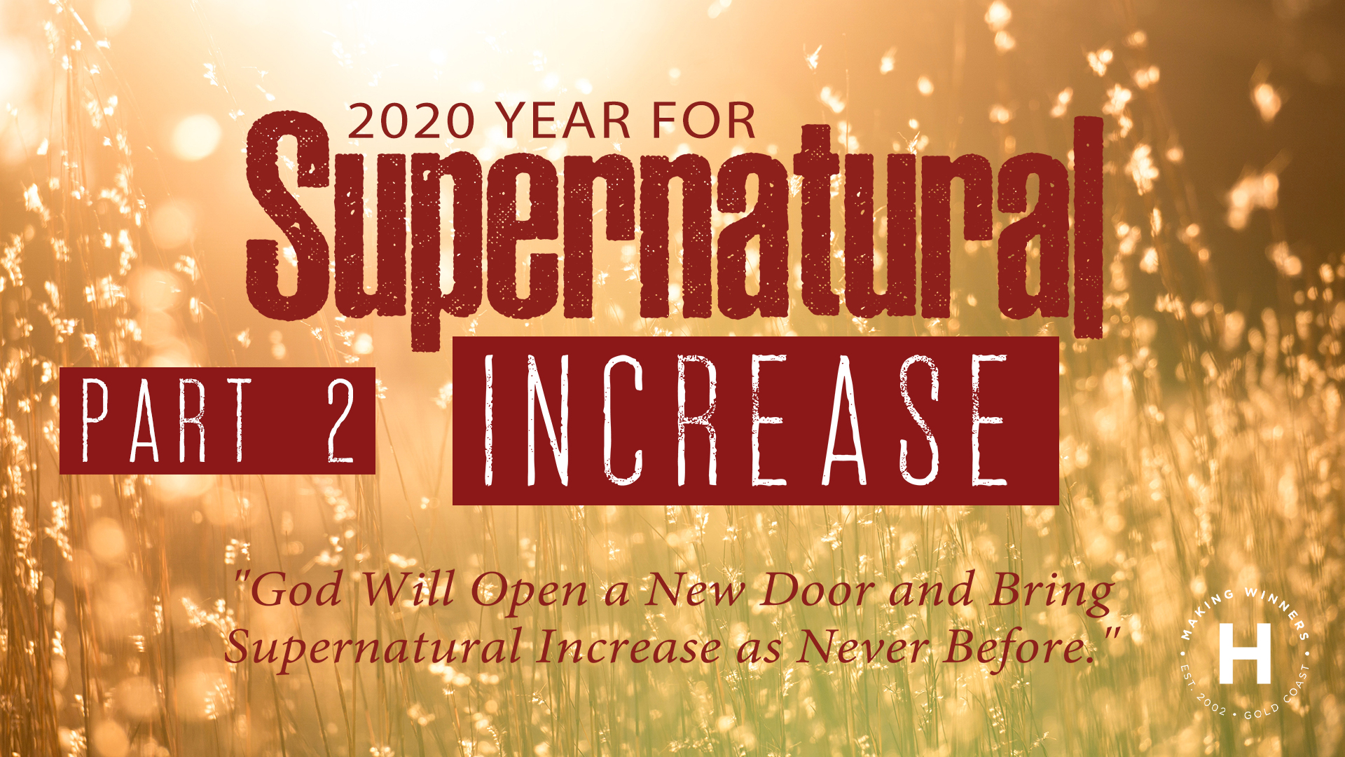 2020: The Year of Supernatural Increase: part 2