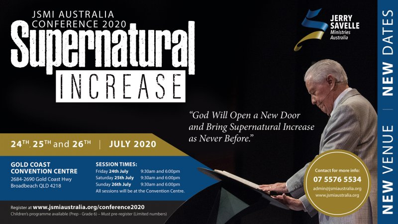 Important Changes about the JSMI Australia 2020 Conference Supernatural Increase