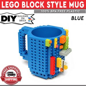 DIY Lego Mug Building On Brick - Building Blocks - Blue