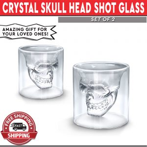 Shot Glass Crystal Skull Head Design Set of 2