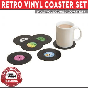 Vinyl Coaster Set Retro Records CD Music Drink Decor Pack of 6