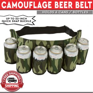 Beer Belt Camouflage Design Holds 6 Cans - Adjustable Waist