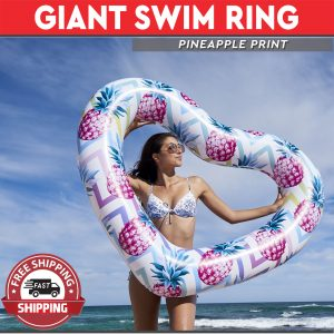 Giant Heart Swim Ring - Pineapple Design