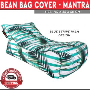 Beanbag Cover Blue Stripe Palm Design