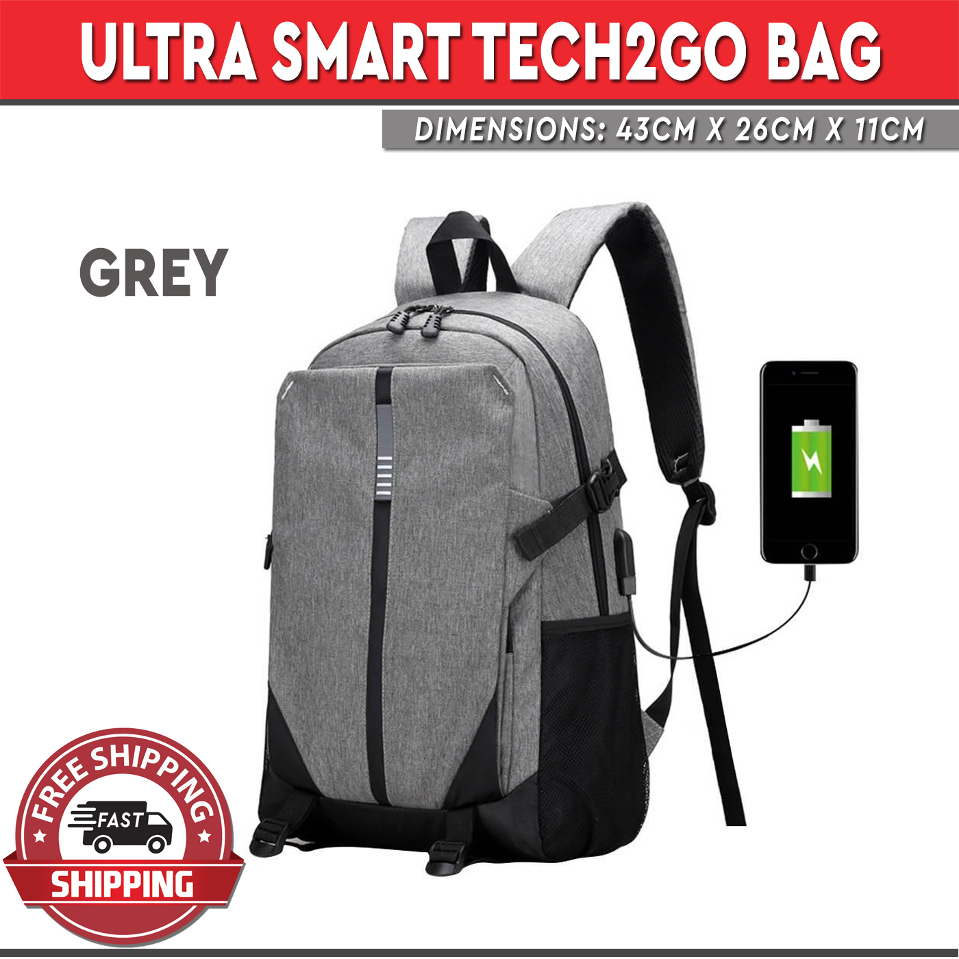 64165ee8c7 Ultra Smart Tech2Go Rechargable Large Capacity Laptop Bag anvas Backpack  with USB Charging Port - Gray