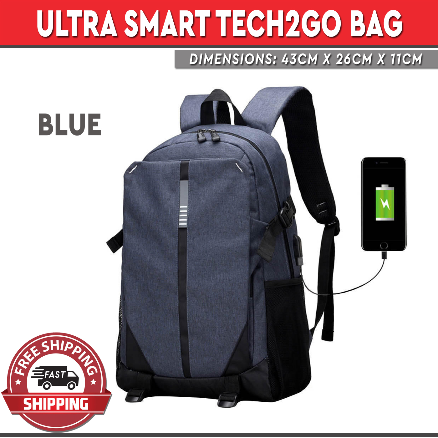 02fc5cd820 Ultra Smart Tech2Go Rechargable Large Capacity Laptop Bag anvas Backpack  with USB Charging Port - Blue
