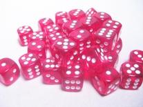 36 d6 Dice Set Chessex TRANSLUCENT RED white 23804 Dadi Trasparente Rosso