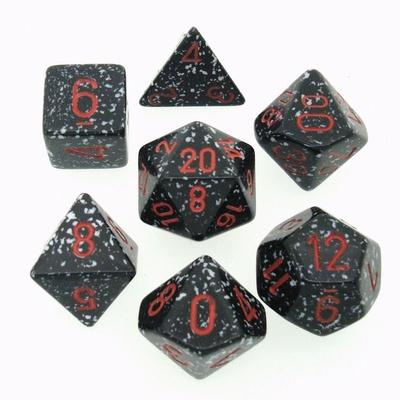 7 Die Set Chessex SPECKLED SPACE red 25308 MACULATO SPAZIO rosso Dadi Dado Dice