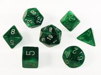 7 Die Set Chessex VELVET GREEN silver Dice VERDE argento Dadi Dado 27475