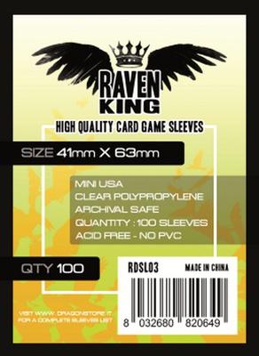 100 Sleeves RAVEN KING 41x63 Bustine Protettive Mini USA