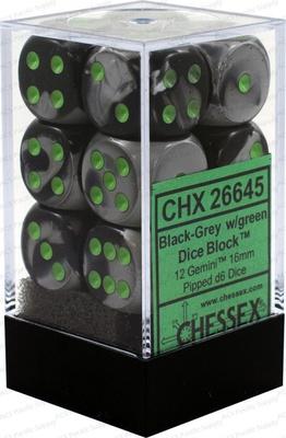 12 d6 Dice Set Chessex GEMINI BLACK GREY Green 26645 NERO GRIGIO Verde Dadi Dado