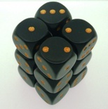 12 d6 Die Set Chessex OPAQUE BLACK gold Dice OPACO NERO oro Dadi Dado 25628