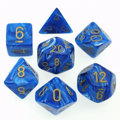 7 Die Set Chessex VORTEX BLUE gold Dice BLU oro Dadi Dado 27436