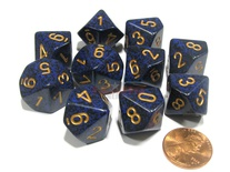 10 d10 Dice Set Chessex SPECKLED COBALT Gold 25137 MACULATO COBALTO Oro Dadi Dado