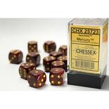 12 d6 Dice Set Chessex SPECKLED MERCURY 25723 Red Black Dadi Dado Die