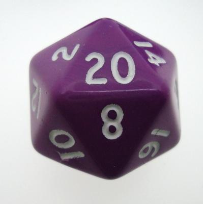 d20 Dice Chessex 16mm Opaque Purple white PQ2007 Dado Opaco Viola bianco