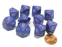 10 d10 Dice Set Chessex SPECKLED TETRA Silver 25147 MACULATO TETRA Argento Dadi Dado