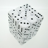 36 d6 Die Set Chessex OPAQUE WHITE black Dice OPACO BIANCO nero Dadi Dado 25801