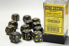 12 d6 Dice Set Chessex SPECKLED MERCURY 25728 Grey Black Dadi Dado Die