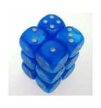 12 d6 Dice Set Chessex VELVET B.BLUE silver 27679 Dadi BLU BRILLANTE argento