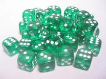 36 d6 Dice Set Chessex TRANSLUCENT GREEN white 23805 Dadi Trasparente Verde