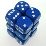 12 d6 Dice Set Chessex OPAQUE BLUE white 25606 Dadi OPACO BLU bianco